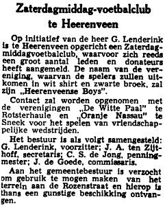 Artikel oprichting Heerenveense Boys (LC 06-05-1954)