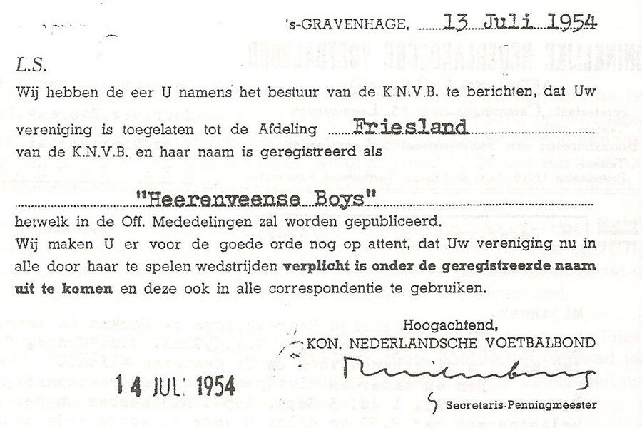 Toelatingsbewijs KNVB Heerenveense Boys (14-07-1954)