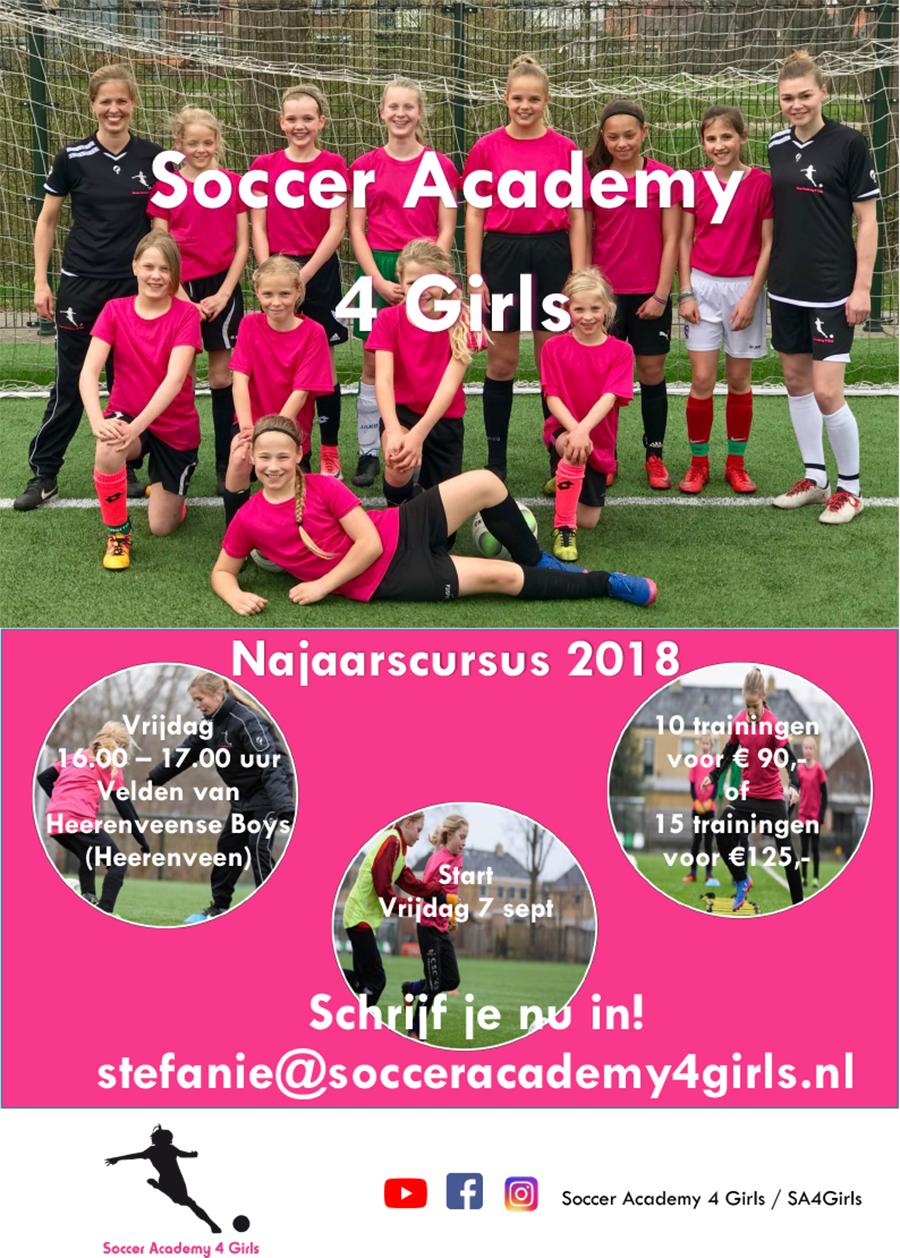 Flyer Soccer Academy 4 Girls najaarscursus 2018 Heerenveense Boys