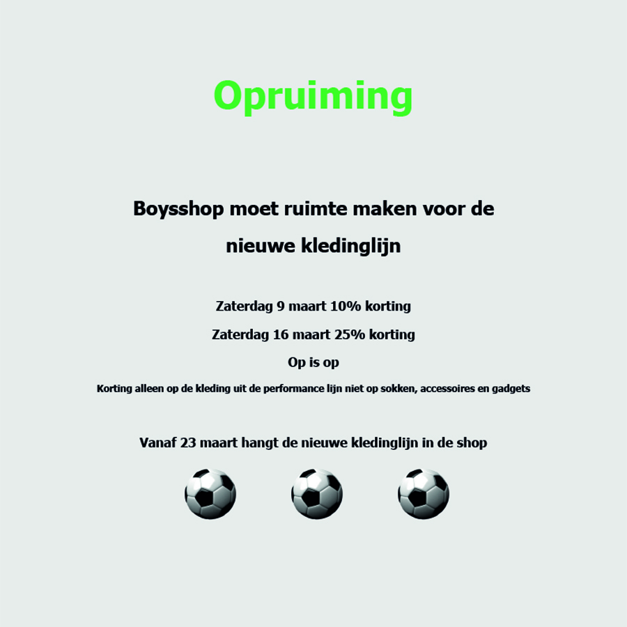 Opruiming Boysshop