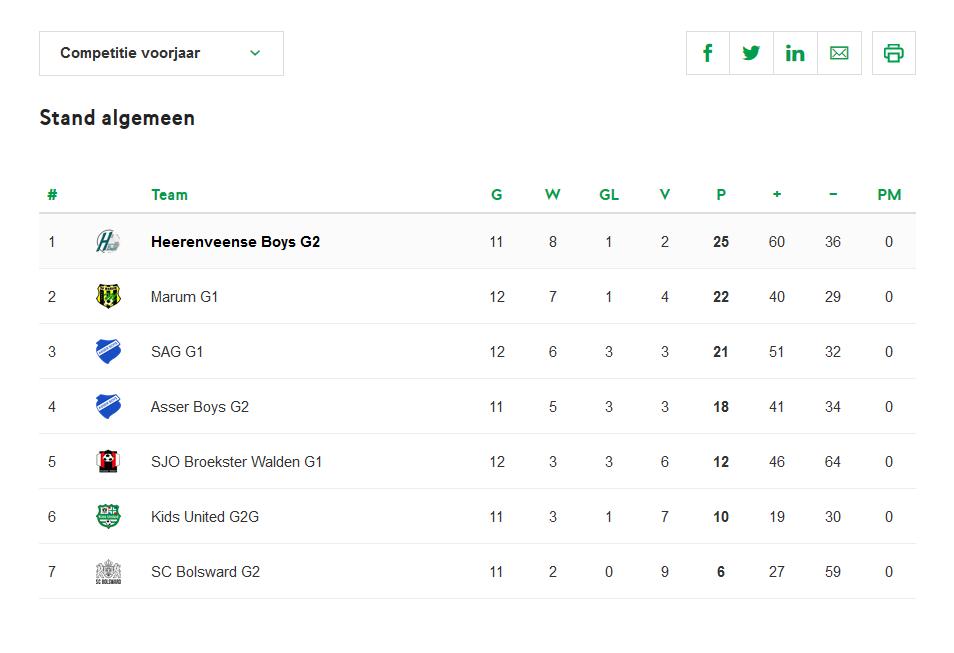 Stand Heerenveense Boys G2 2018-2019