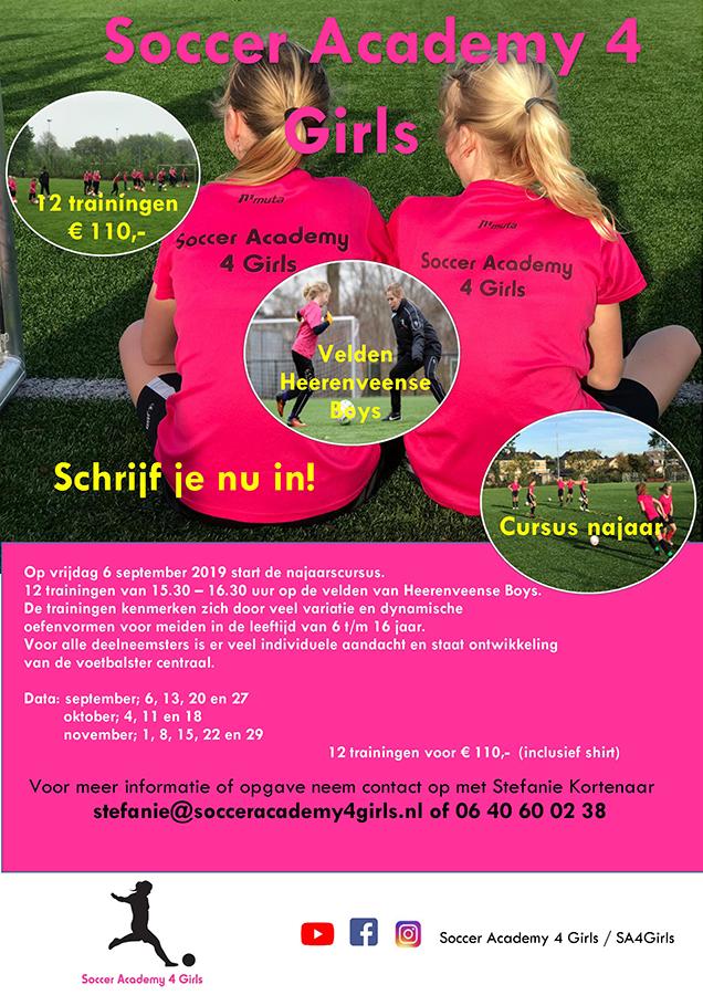 Najaarscursus meidenvoetbal 2019 Soccer Academy 4 Girls